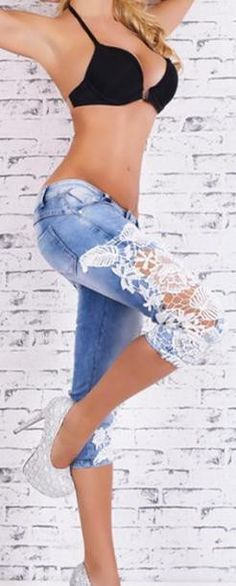 Lace design make other feel you are sexy,this jeans with lace patchwork can show your charming legs can low waist design can show your sexy waist,you can wear it at your daily life,which is cool can n                                                                                                                                                     More