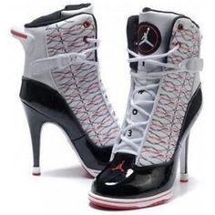 Nike Heels Boots Air Jordan 6 For Women White Black Red Sneaker High Heels, Nike High Heels, Black High Heels, High Heel Boots, Womens High Heels, Shoe Boots, Shoes Heels, Red High, Louboutin Shoes
