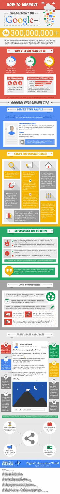 How To Improve #Engagement on #GooglePlus #infographic