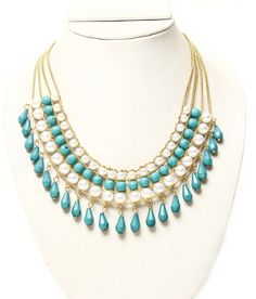 Want to look vivacious? Blue and gold will never fail,whether its a party or day out! Turquoise Necklace, Beaded Necklace, Neck Piece, Necklace Online, That Look, Blue And White, Party, Gold, Stuff To Buy