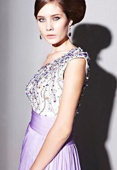 Purple One-shoulder Art Bead Pattern Formal Dress 81116