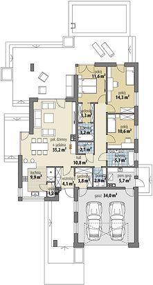 Projekt domu Miriam III 118,10 m² - koszt budowy - EXTRADOM House Plans Mansion, Dream House Plans, Modern House Plans, My Dream Home, Simple Bungalow House Designs, Modern Bungalow House, Minimal House Design, Minimal Home, Architectural Design House Plans