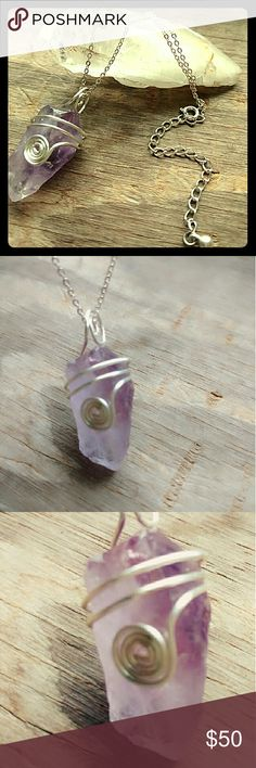 """Entangled Earth Amethyst necklace, simply earthy! A raw African Amethyst polished hand, wrapped in Sterling silver 18 guage wire. On a Sterling silver plated petite chain, 16"""" with an extra 3"""" thicker chain.  The stone considered semi-precious but I consider it absolutely precious! This cut has mostly light purple with dark purple on the top and center.  *artisan crafted *One of a kind * Ready to ship Entangled Earth Jewelry Necklaces"""