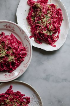 Fresh Beet Pasta + Beet Pesto/10 oz all-purpose or 00 flour 4 oz semolina flour 1 medium beet, roasted, peeled and puréed (about 5 to 6 tbsp purée) 2 large whole eggs 3 large egg yolks  For the pesto: 1 medium to large beet, roasted, peeled and chopped (about 1 cup) 1/3 cup walnuts or pine nuts 1/2 cup grated parmesan 2 medium garlic cloves 1/2 tsp salt, plus more to taste freshly cracked black pepper 1/3 cup olive oil