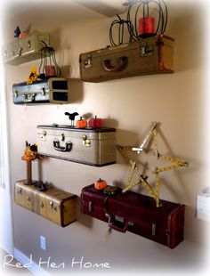 DIY Idea: Turn Vintage Suitcases Into A Unique Shelf Wall
