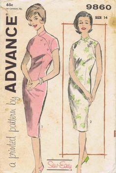 Cheongsam Sheath Dress 1960s Advance 9860 Vintage Sewing Pattern Size 14 Bust 34