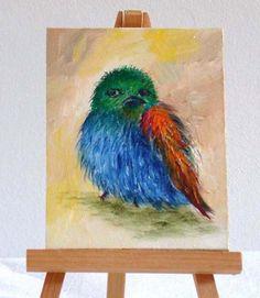 Bird With an Atitude 3x4original oil painting by valdasfineart