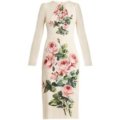 Dolce & Gabbana Rose-print silk-blend dress (€2.165) ❤ liked on Polyvore featuring dresses, pink print, rose print dress, shirred dress, ruching dress, pink dress and ruched pencil dress