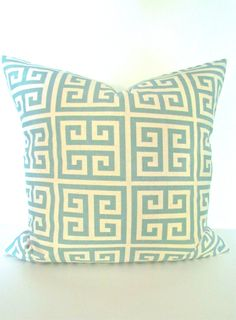 THROW PILLOW 16x16  Throw Pillow Covers Spa Blue 16 x 16 Decorative Throw Pillows  Fabric on Front & Back