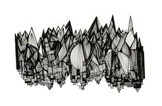 Buildings and Icicles 8x10 Abstract Fine Art Archival Print of Original Pen and Ink Drawing.