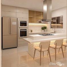 Cozinha limpa, moderna e bonita! - Home ideas - Kitchen Room Design, Luxury Kitchen Design, Kitchen Cabinet Design, Luxury Kitchens, Kitchen Layout, Home Decor Kitchen, Interior Design Kitchen, Home Kitchens, Diy Interior