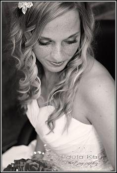 Bride. Head shot, looking down