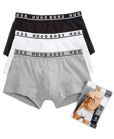 Boss Men's Underwear Cotton Stretch 3 Pack Trunks - Grey/White/Black S Men's Underwear, Hugo Boss, Clothing Photography, Product Photography, Boss Man, Grey And White, Black, Baby Clothes Shops, Men Clothes