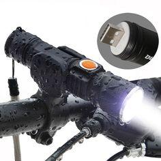 3000 Lumen Super Light USB Rechargeable T6 LED Bicycle Light Waterproof Built-in Battery Head Front Bike Light Flashlight