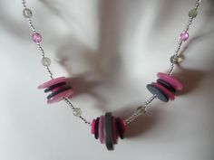 Pink and black button and bead necklace by bigfurrycat on Etsy, £10.00
