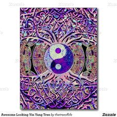 Awesome Looking Yin Yang Tree Postcard