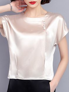 Fashionable Pure Color Smooth Beading Short Sleeve Casual T-shirts Online - NewChic Mobile Casual Dresses, Fashion Dresses, Sewing Blouses, T Shirts For Women, Clothes For Women, Casual T Shirts, Tshirts Online, Dress Patterns, Blouse Designs