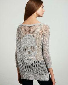 Agulhas Encantadas: Blusa caveira crochê filé! Crochet skull filet shirt!
