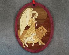 Wood Inlay Christmas Ornament - Angel by EzMarquetry on Etsy