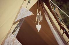 burlap and lace bunting for a country-chic wedding. Custom honeymoon suites by East Coast Glamping www.eastcoastglamping.ca