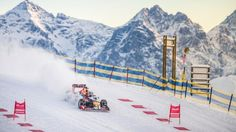 Max Verstappen performs during the F1 Showrun at the Hahnenkamm in Kitzbuehel, Austria on Jannuary 14, 2016. © Philip Platzer/Red Bull Content Pool
