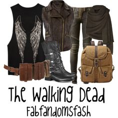 Requested by: Hey, sorry if it's sorta crappy. I really don't know enough about the show but I hope you like it! The Walking Dead, Walking Dead Clothes, Disney Themed Outfits, Inspired Outfits, Zombie Apocalypse Outfit, Casual Outfits, Fashion Outfits, Fall Outfits, Fashion Ideas