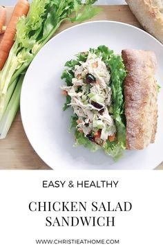 Chicken Salad Sandwich. A filling, healthy, delicious creamy chicken salad sandwich that is great for lunch that is easy to make. #sandwich #lunch #dinner #chickensalad Savoury Recipes, Savoury Dishes, Lunch Recipes, Delicious Recipes, Creamy Chicken, Healthy Chicken, Chicken Salad, Healthy Sandwiches, Salad Sandwich