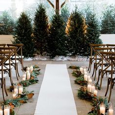 Winter wedding ceremony with pine trees at the alter & white candles lining the . Winter wedding ceremony with pine trees at the alter & white candles lining the aisle Photo via. Winter Wedding Ceremonies, Winter Wedding Decorations, Wedding Venues, Winter Wedding Venue, Elegant Winter Wedding, Wedding Ceremony Candles, Outside Winter Wedding, Vintage Winter Weddings, Cozy Wedding