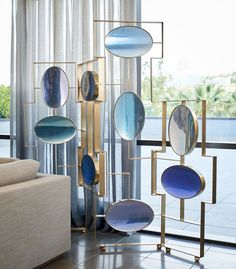 The limited-edition, Aurora Folding Screen designed by @McCollinBryan, feature a range of blue hues which change tone as the light reflects… Partition Screen, Divider Screen, Screen Doors, Modern Furniture, Furniture Design, Chair Design, Interior Decorating, Interior Design, Screen Design