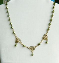Olive Glass Pearl and Chainmaille Necklace by Bluebirdsanddaisies, £10.00