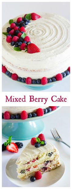 This Berry Chantilly Cake recipe is loaded with 4 different berries, a sweet mascarpone cream cheese frosting, and 4 fluffy vanilla cake layers. Chantilly Cake Recipe, Berry Chantilly Cake, Baking Recipes, Cake Recipes, Dessert Recipes, Snacks Recipes, Just Desserts, Delicious Desserts, Bolo Cake