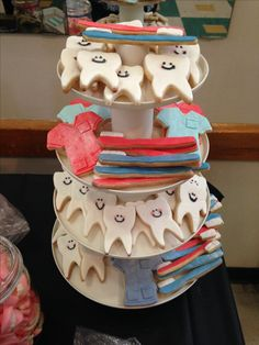 Dental Hygiene themed cookies. I displayed them on a tiered cupcake tray. Cute teeth, toothbrushes and scrubs.