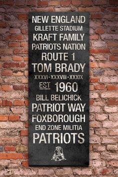 "New England Patriots Vintage Subway Art - 40"" x 16"" by Fan Favorite Football Art on @HauteLook"