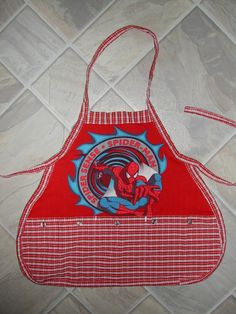 Kids Spiderman Apron by funfoodsaprons on Etsy