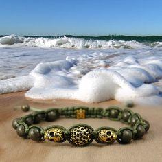 Shamballa style bracelet  green gold Skully by DonaQuichotteJewels, $55.00