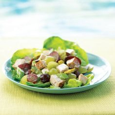 Celery and nuts add crunch to this delectable spring-weather salad, and grapes add a hint of sweetness. Eat it with your favorite greens or stuff it into a whole-grain pita pocket for a tasty sandwich.