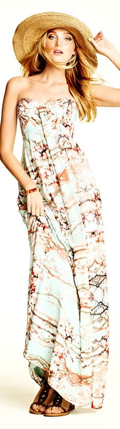 Jessica Simpson Strapless Print Maxi Dress