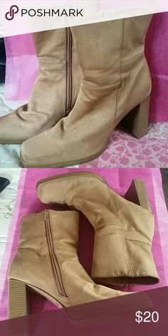 """BONNIBEL TAN SWADE ANKLE BOOTS EUC... 4"""" Tan Swade Ankle Boots... These have only been worn once... Still look great!!! Bonnibel Shoes Ankle Boots & Booties"""