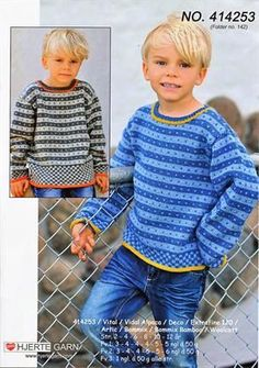 Sweater med striber og tern fra Hjertegarn - 414253