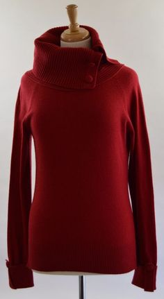 Banana Republic Womens Medium Luxury Blend Red Cashmere Cowl Sweater Ex Used #BananaRepublic #CowlNeck
