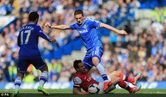 Chelsea 6-0 vs Arsenal. Chelsea's Nemanja Matic action for middle filed battle.