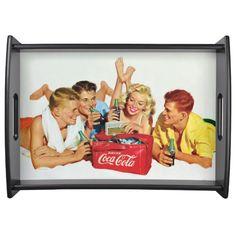 Vintage Coca-Cola Enjoy Coke With Friends Serving Tray Coca Cola Gifts, Coca Cola Store, Coca Cola Drink, Pepsi Cola, Retro Logos, Retro Ads, Coca Cola Merchandise, Birthday Bbq, Coke Cans