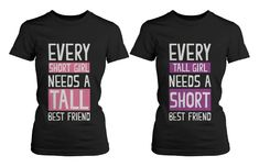 Best Friend Shirts Short and Tall Best Friends BFF Matching T-shirts