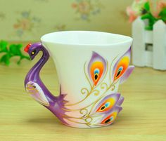 Coffee Cup and Saucer Sets   Shape Enamel Porcelain Coffee Cup Saucers Spoon 5 Colors Coffee set ...