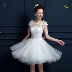 New 2016 white short wedding dresses the bride sexy lace wedding dress bridal gown White vestido de noiva curto