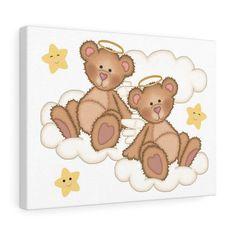NURSERY WALL ART Canvas Print Decor Baby Girl Teddy Bear Cloud Stars
