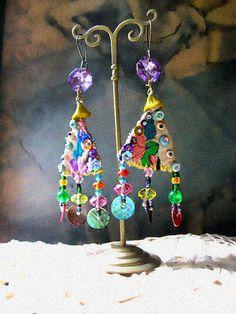 Joy Earrings, Embroidered, Rainbow, Crystal, Lavender, Shell, Bohemian, Sea, Boho, Amulet, Dangle
