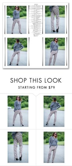 """Beige Plaid Drop Crotch Harem Pants, Trousers with Zippers and a Side Pocket"" by eug-fashion ❤ liked on Polyvore"