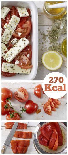 Besonders würzige Version des griechischen Vorspeisenklassikers: Gebackener Schafskäse mit Tomaten und Paprika | http://eatsmarter.de/rezepte/gebackener-schafskaese