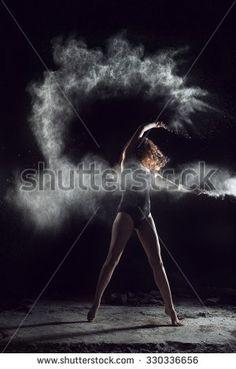 Ballerina dancing with flour, jump